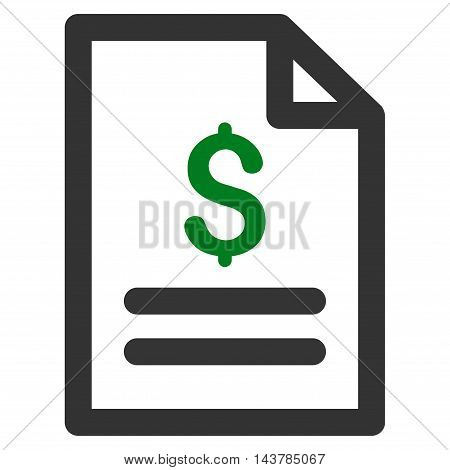Price List icon. Vector style is bicolor flat iconic symbol with rounded angles, green and gray colors, white background.