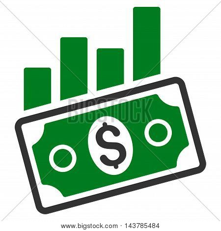 Sales Bar Chart icon. Vector style is bicolor flat iconic symbol with rounded angles, green and gray colors, white background.