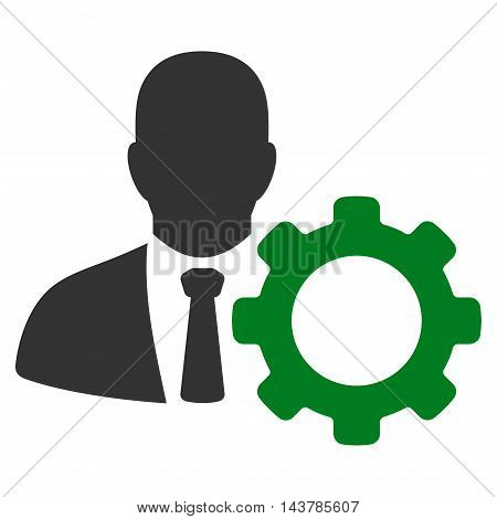 Serviceman icon. Vector style is bicolor flat iconic symbol with rounded angles, green and gray colors, white background.