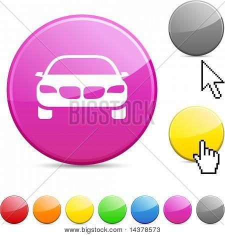 Car glossy vibrant round icon.