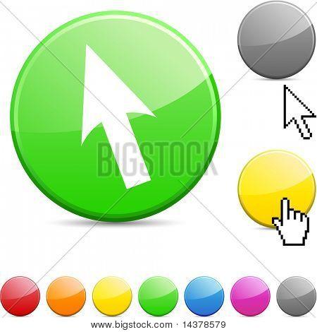 Cursor glossy vibrant round icon.