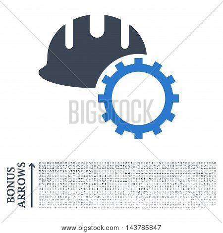 Development Hardhat icon with 1200 bonus arrow and navigation pictograms. Vector illustration style is flat iconic bicolor symbols, smooth blue colors, white background.