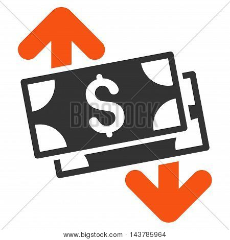 Banknotes Spending icon. Vector style is bicolor flat iconic symbol with rounded angles, orange and gray colors, white background.