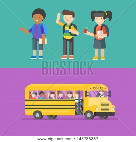 Vector illustration of kids at school and in bus. Back to school concept.