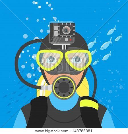 Vector illustration of skuba diver shooting video underwater in the sea.