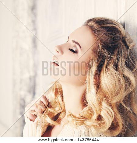 Sensuality. Sensual beautiful Woman Fashion Model with open lips