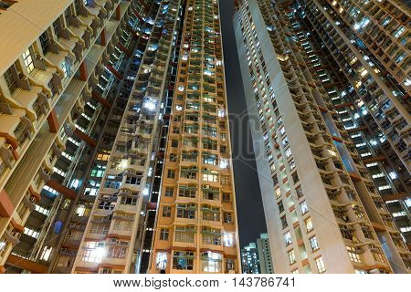 Public housing to the sky at night