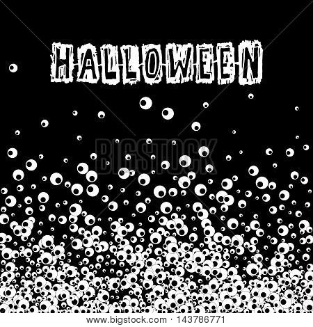 Halloween black banner with apple of the eye and scratch text. Vector background.
