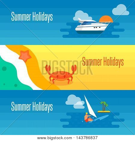 Summer holidays banner vector illustration. Sea crab and starfish on beach. Seascape with yacht, sunset and surfer riding on waves. Concept of holiday at sea. Beach activities. Outdoor leisure.