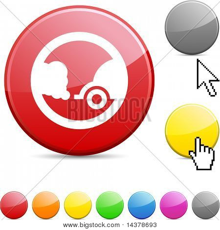 Ecology glossy vibrant round icon.