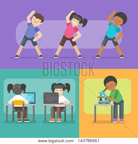Vector illustration of kids activities at school. Back to school concept.