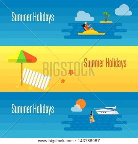 Summer holidays banner vector illustration. Sun lounger and beach umbrella on sand. Seascape with yacht, sunset, swimming girl and couple on water bike. Concept of holiday at sea.