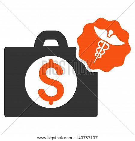 Medical Business icon. Vector style is bicolor flat iconic symbol with rounded angles, orange and gray colors, white background.