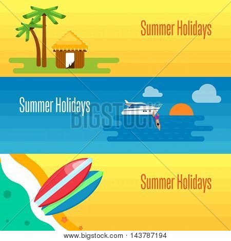 Summer holidays banner vector illustration. Colorful surfboards on beach. Tropical bungalows and palm trees. Seascape with yacht, sunset and swimming man. Concept of holiday at sea. Beach activities