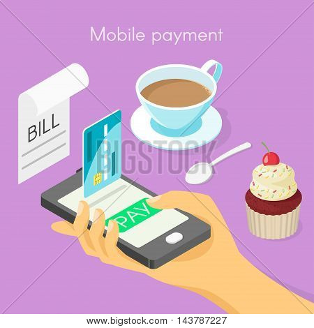 Vector isometric 3d concept for mobile online payment. Hand holding smartphone with green pay button.