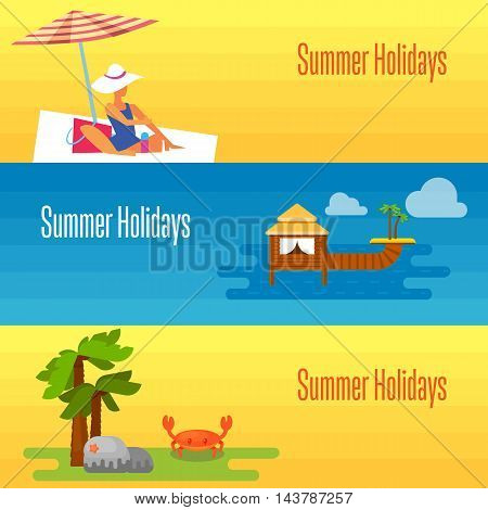 Summer holidays banner vector illustration. Woman sunbathes on beach under the sun. Natural landscape with palm, grass and sea crab. Seascape with water bungalow and tropical island with palm trees