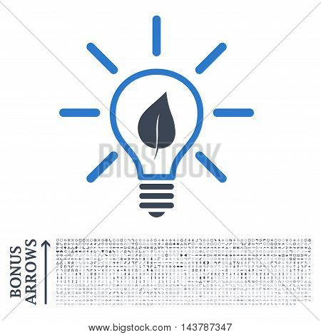 Eco Light Bulb icon with 1200 bonus arrow and direction pictograms. Vector illustration style is flat iconic bicolor symbols, smooth blue colors, white background.
