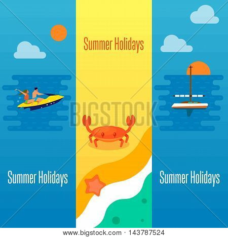 Summer holidays banner vector illustration. Sea crab and starfish on beach. Seascape with yacht, sunset and couple riding jet ski. Boating, beach activities, water ski. Concept of holiday at sea.