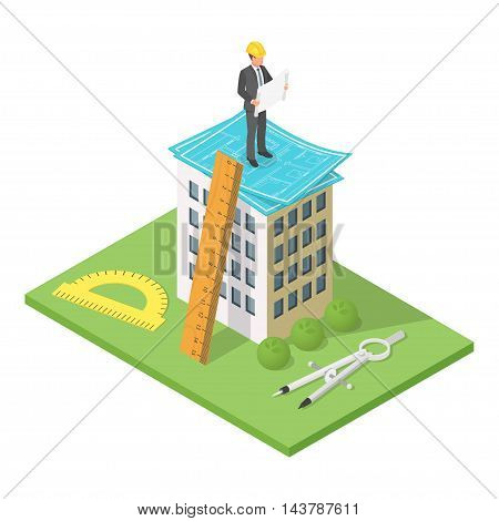 Vector isometric 3d illustration of city building with blueprints. Architectural background with engineer man looking at house plan.