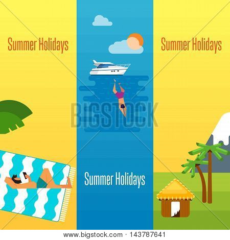 Summer holidays banner vector illustration. Man using smartphone on beach. Natural landscape with tropical bungalow, mountain and palm trees. Seascape with yacht, sunset and swimming man.