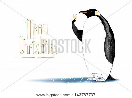 Merry Christmas vector seasonal greeting card. Penguin with champagne wine funny nonstandard celebration illustration. Design element with Merry Christmas hand drawn lettering.