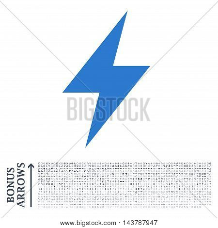 Electric Strike icon with 1200 bonus arrow and direction pictograms. Vector illustration style is flat iconic bicolor symbols, smooth blue colors, white background.