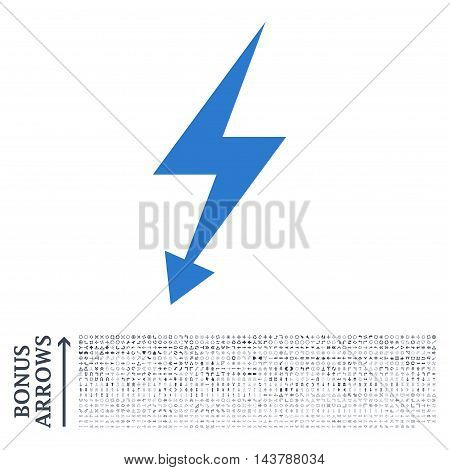 Electric Strike icon with 1200 bonus arrow and navigation pictograms. Vector illustration style is flat iconic bicolor symbols, smooth blue colors, white background.
