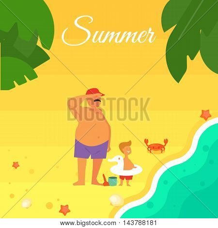 Summer banner vector illustration. Father with little son in swimming trunks on the beach. Sand beach with sea crab, palm leaves and starfish. Summer background. Natural landscape. Summer time