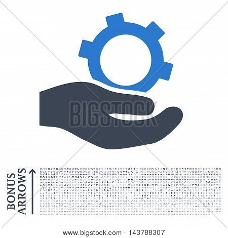 Engineering Service icon with 1200 bonus arrow and navigation pictograms. Vector illustration style is flat iconic bicolor symbols, smooth blue colors, white background.