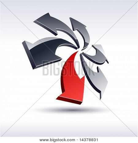 Abstract modern 3d rotation logo. Vector.