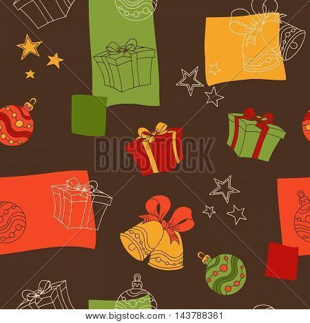 New year Christmas graphic art brown green yellow red color seamless pattern illustration vector