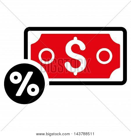 Banknote Percent icon. Vector style is bicolor flat iconic symbol with rounded angles, intensive red and black colors, white background.