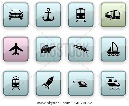 Juego de transporte de los iconos cuadrados dim.