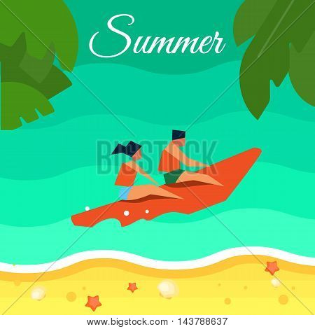 Summer background, vector illustration. People in life jackets on red banana boat in water. Sand beach with palm leaves and starfish. Natural landscape. Summer fun. Sea time. Beach activities.