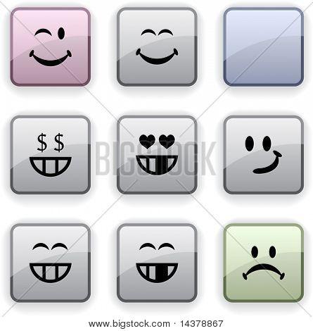 Smiley set of square dim icons.