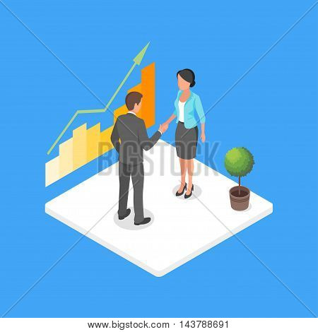 Vector isometric 3d illustration of two business people making deal and shaking hands in agreement.