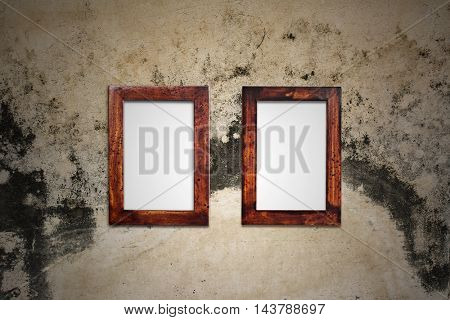old wooden picture frame on wall