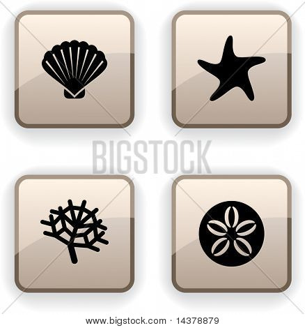 Marine  set of square dim icons.