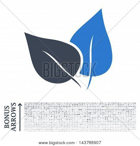 Flora Plant icon with 1200 bonus arrow and direction pictograms. Vector illustration style is flat iconic bicolor symbols, smooth blue colors, white background.