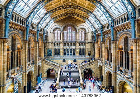 Main Hall Of The Natural History Museum In London