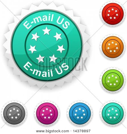 E-mail us award button. Vector.