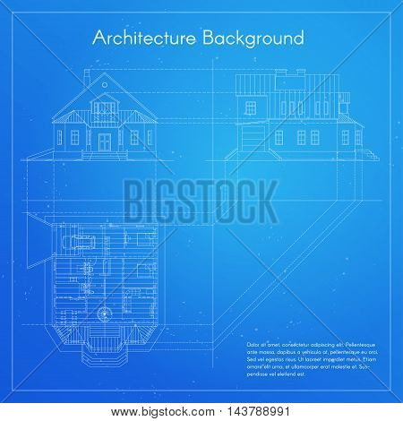 Vector illustration of city building blueprint. Architectural background or project