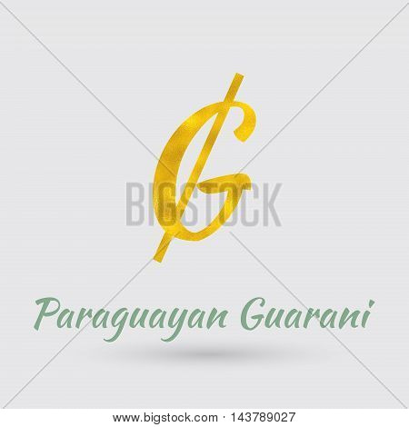 Symbol of the Paraguay Currency with Golden Texture.Vector EPS 10