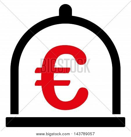 Euro Storage icon. Vector style is bicolor flat iconic symbol with rounded angles, intensive red and black colors, white background.