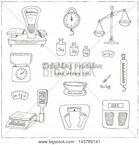 Doodle weighing machine set tools set Vintage illustration for identity, design, decoration, packages product and interior decorating