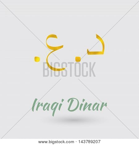 Symbol of the Iraq Currency with Golden Texture.Vector EPS 10