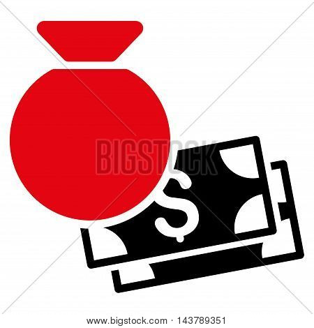 Money Bag icon. Vector style is bicolor flat iconic symbol with rounded angles, intensive red and black colors, white background.