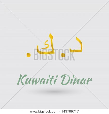 Symbol of the Kuwait Currency with Golden Texture.Vector EPS 10