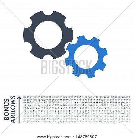 Gears icon with 1200 bonus arrow and navigation pictograms. Vector illustration style is flat iconic bicolor symbols, smooth blue colors, white background.
