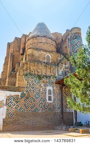 The ruins of the Dorus-Saodat Mausoleum of Mirza Jahangir the oldest son of Amir Timur Hazrati Imam Complex Shakhrisabz Uzbekistan.
